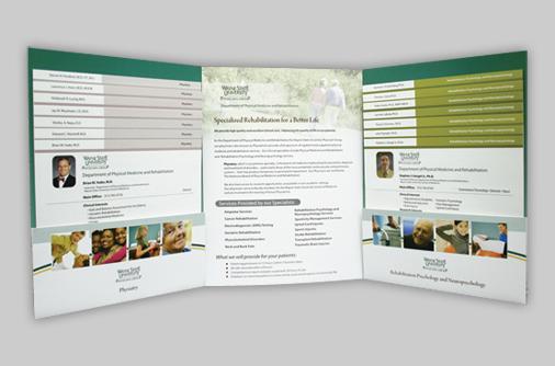 custom designed three panel folder
