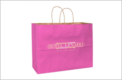 pink matte breast cancer awareness bag with twisted paper handle